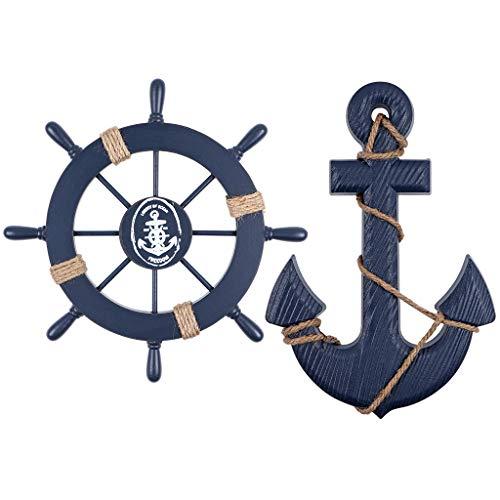 MDLUU Ship Whee Decor, timón de madera de 28 cm, ancla de 33 cm, adorno colgante para habitación náutica mediterránea, decoración de fiesta, paquete de 2 (azul marino)