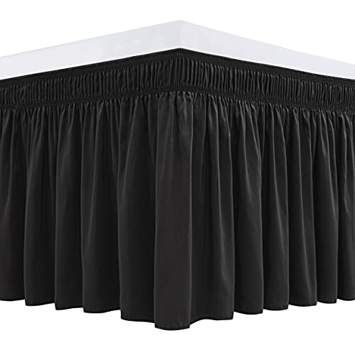 Biscaynebay Wrap Around Bed Skirts for Queen Beds 15 Inches Drop, Black Elastic Dust Ruffles Easy Fit Wrinkle & Fade Resistant Silky Luxurious Fabric Solid Machine Washable