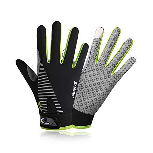 YHT Cycling Gloves Touchscreen Ultimate Frisbee Gloves Non-Slip Flexible Thin Workout Gloves for Men Women (Green,M)