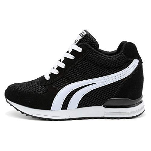 AONEGOLD® Zapatillas de Cuña para Mujer Zapatillas de Deporte Zapatillas Altas Primavera/Verano Tacón Cuña 7CM(Negro,39 EU)