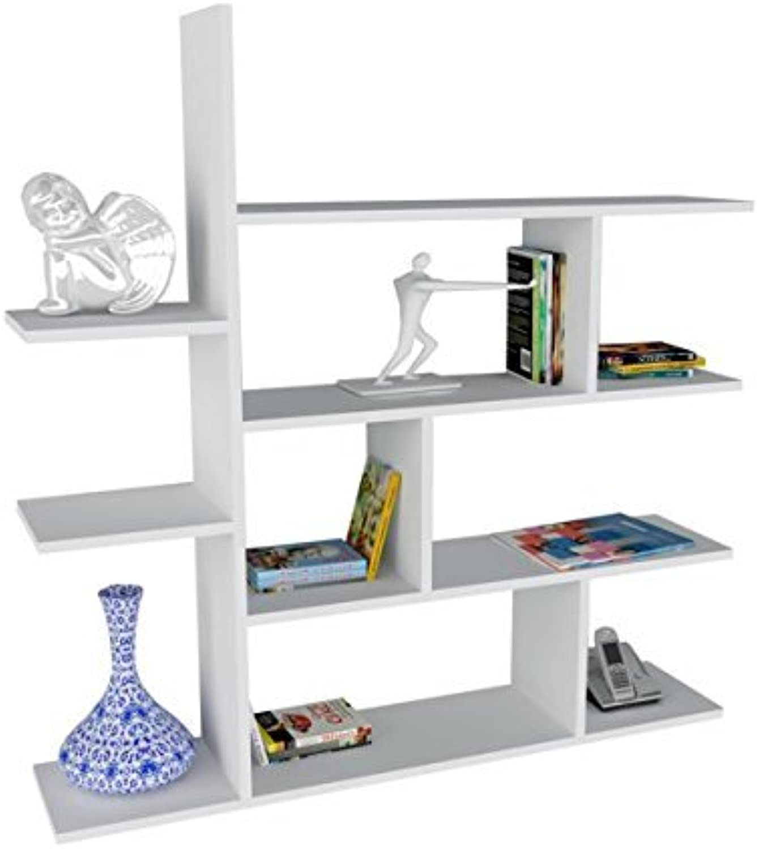 Alphamoebel Bücherregal, Schweberegal, Wandregal, Holzregal, Hngeregal, Wandboard, Regal fürs Wohnzimmer I Wei I 120 x 121,8 x 22 cm I Motif 2 0394