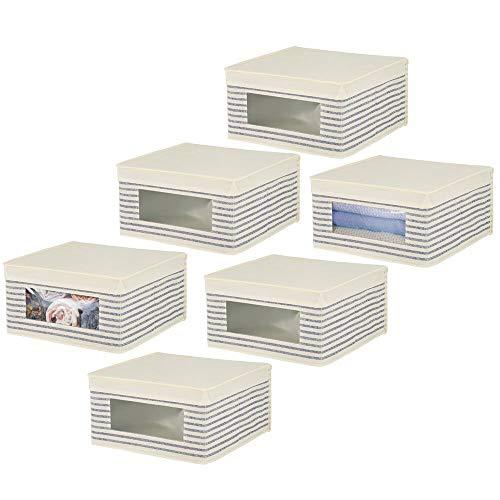 mDesign Juego de 6 cajas organizadoras de tela – Caja de almacenaje apilable para ordenar armarios, zapatos o ropa – Organizador de armarios con tapa y ventanilla – beige/azul