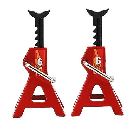 Tbest 2Pcs 6T Jack Stands, Metal RC Lifting Jack Reparación de Herramientas Set Climbing Car para 1/10 RC Car(Rojo)