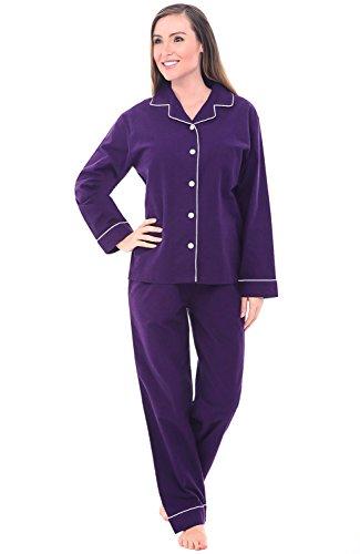 Alexander Del Rossa Women's Warm Flannel Pajama Set, Long Button Down Cotton Pjs, Medium Deep Purple with White Piping (A0509DPUMD)