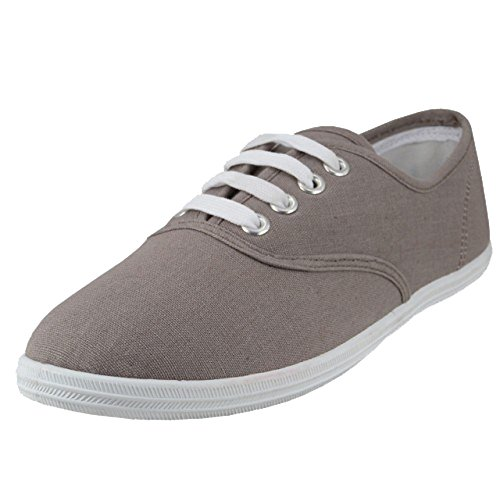 Shoes 18 Womens Canvas Shoes Lace up Sneakers 18 Colors Available (8, Grey 324)