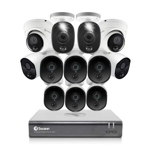 Swann Home Security Camera System, 12 Cameras 16 Channel 1080p Wired Surveillance CCTV DVR, Night Vision, Motion Detection with 1TB Hard Drive