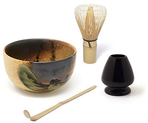 Ensemble à Thé Matcha – Un bol original japonais à matcha - 400 ml PLUS un fouet à matcha chasen – fouet à matcha PLUS un support de fouet à matcha PLUS une cuillère en bambou à matcha chashaku - Quertee