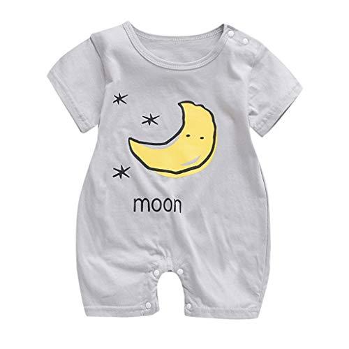 Jimmackey 2pc Neonato Unisex Pagliaccetto Sun Cloud Moon Stampa Romper Tuta Manica Corta Tutina Estate Abbigliamento