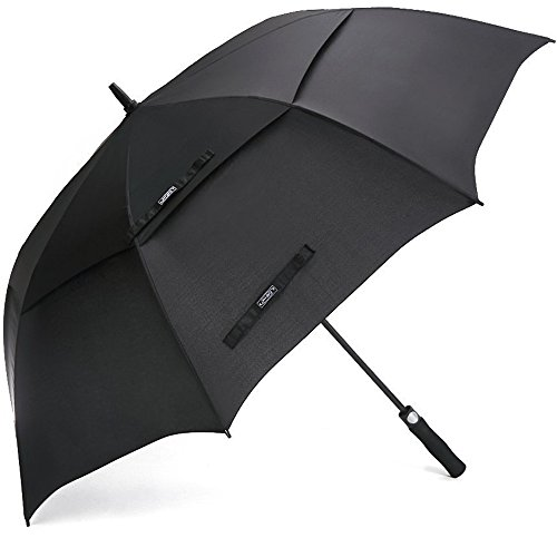 G4Free 62 Inch Automatic Open Golf Umbrella Extra Large Oversize Double Canopy Vented Windproof Waterproof Stick Umbrellas (Black)