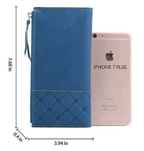 AINIMOER Luxury Large Women's Leather Long Zipper Wallet ladies Clutch Purse 4