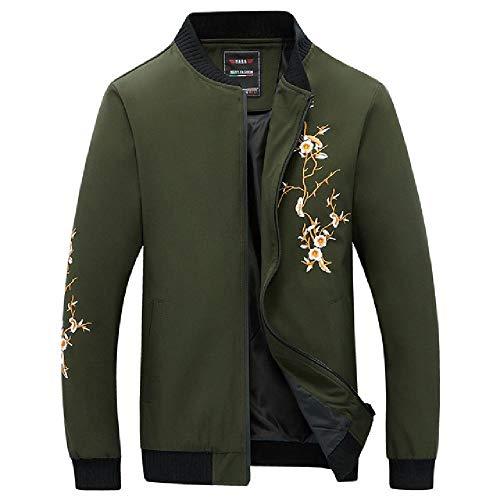 nobrand Männer Streetwear Coat Flower Embroidery Baseball Jacke einfarbig Frühjahr Jacken für Männer