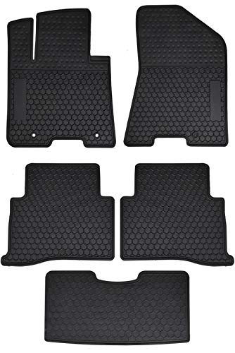 Megiteller Car Floor Mats Custom Fit for Kia Sportage 2017 2018 2019 2020/2019-2020 Hyundai Tucson Odorless Washable Heavy Duty Rubber (All Weather) Floor Liners Front and Rear Row Set Black