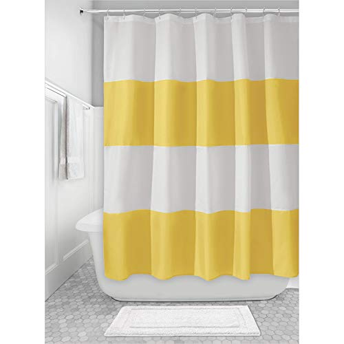 Price comparison product image iDesign Zeno Fabric Shower Curtain,  Long Polyester Shower Screen with Block-Colour Pattern Design,  Yellow / White