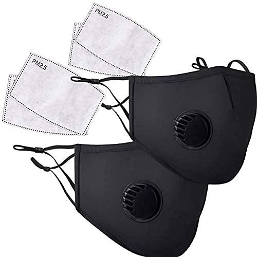 Masques Tissu Lavable Noir, Masques en Coton Respirant et...