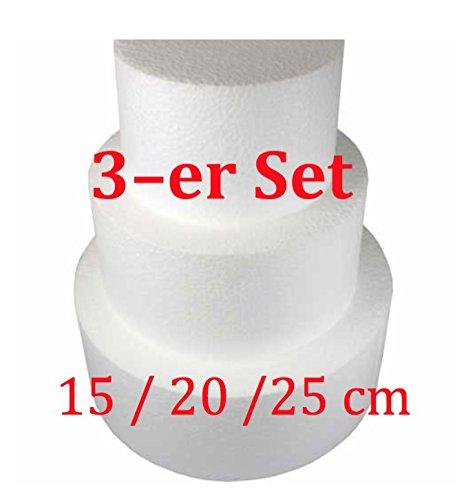 Tortendeko Styropor Torte Kuchen Dummy rund 3-er Set, Ø 15/20 / 25 cm,10 cm hoch
