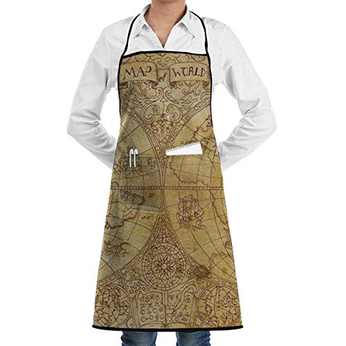N\A Waterproof Hem Apron with Pocket 52cm 72cm, Unisex Apron World Map