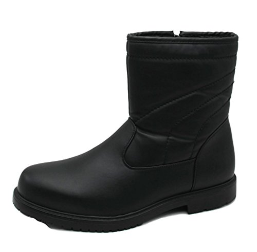 SkaDoo Mens Dressy Comfortable Classic Fur-Lined Insultated Waterproof Boots All Weather Black