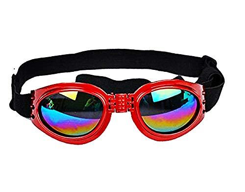 Occhiali da Sole Cane - Elastico - Regolabile - Pieghevoli - Protezione Uv400 - Rosso - Idea Regalo Natale e Compleanno