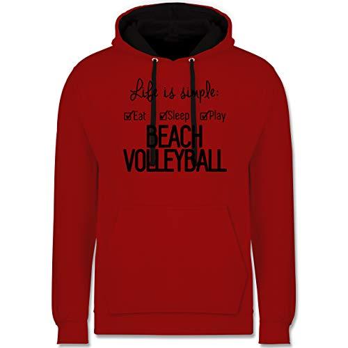 Shirtracer Volleyball - Life is Simple Beachvolleyball - S - Rot/Schwarz - Beach Volleyball Hoodie - JH003 - Hoodie zweifarbig und Kapuzenpullover für Herren und Damen