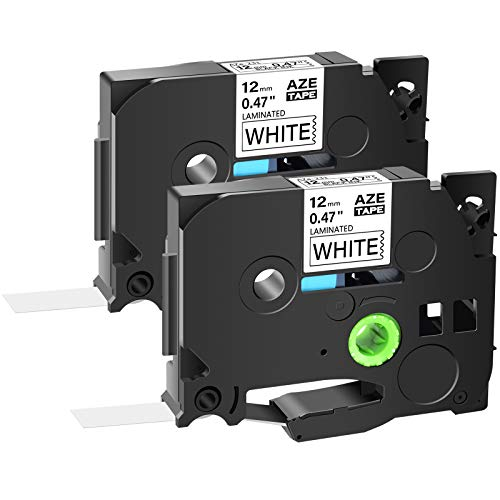 """GREENCYCLE 1/2"""" Laminated Label Tape Compatible for Brother TZ231 TZe231 AZE231 TZ-231 12mm (0.47 Inch) x 8m (26.2 ft) Black on White for PT Cube, PT H500LI, PT P700 P750W Label Makers-2 Pack"""