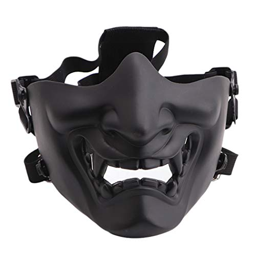 Fansport Airsoft Mask Protective Fashion Half Face Mask Outdoor Game Mask Tactical Prajna Half Face Hannya Oni Motorcycle Evil Demon Knight for Halloween Cosplay (Black)