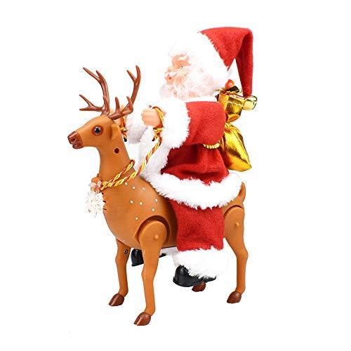 homese Santa Claus Riding Deer Christbaumkugel Batteriebetriebene Gesang Tanzen Wandern Klettern Puppe Spielzeug Geschenke Dekorationen