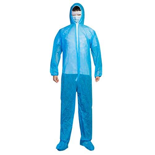 Shulky HULKY Einweg-Schutzanzug wasserdichte ölbeständiger Schutzanzug Kleidung Overall mit Kapuze Suit Workwear,Einweg-Chemikalienschutzanzug Laboroveralls(Blau,L)