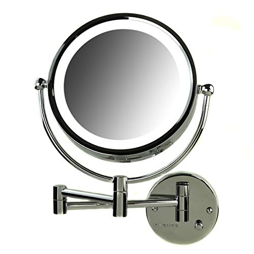 OVENTE Wall Mounted Vanity Makeup Mirror 8.5 Inch with 7X Magnification and Natural LED Lights, Double-Sided with Hardwired Electrical Connection, Distortion Free, Polished Chrome (MPWD3185CH1X7X)