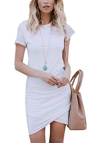 ZIOOER Damen Casual Minikleider Kurzarm Kleider Bodycon Kleid Weiß M
