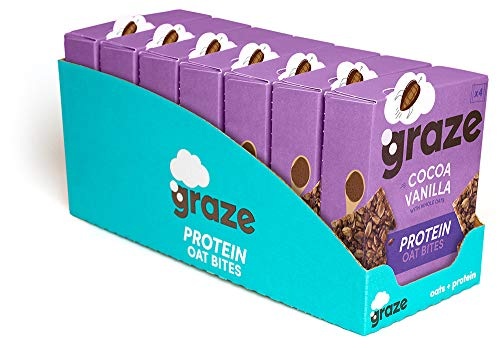 Graze Cocoa Vanilla Protein Oat Bites - Vegan Healthy Snack with Whole Oats - 30g (28 Snacks - 7 Packs of 4)