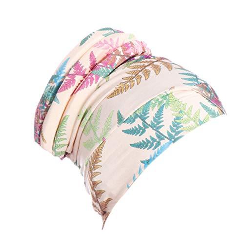 DQANIU 💗💗 Neu!!! Frauen islamischen muslimischen Hijab Turban Hut Blatt Print Headwrap Schal Cover Chemo Cap