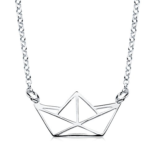 Iyé Biyé Jewels - Collar Colgante Mujer niña Plata de Ley 925 Barco de Papel Calado Cadena Rolo 42 cm Ajustable.
