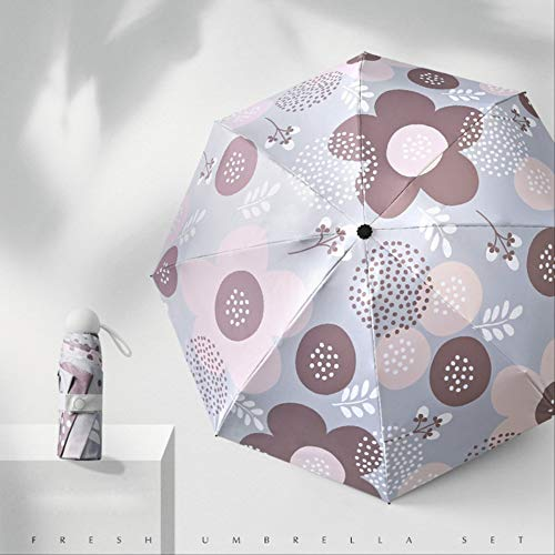 NJSDDB Paraplu Mini Pocket Umbrella Women Impermiable Black Kunststof coating Anti-Uv-zonnescherm met ronde greep Winddicht Double Reverse Umbrella, paars (violet) - 6929247099414