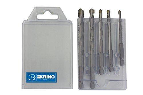 Krino 03057700 - Set  Punte Superior Con Attacco Esagonale 1/4 Per Muro E Cemento  -  5 Pezzi