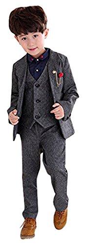 子供服 キッズ フォーマル スーツ 男の子 スーツ 紳士服 卒業式 七五三 誕生日 入園式 (150cm, グレー)