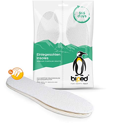 biped 3 Paar Barfußsohlen - Einlegesohlen mit 100% Baumwoll Frottee und Naturlatex Dämpfung - weich & antibakteriell - Sommersohlen für angenehme Frische im Schuh z1016(36)