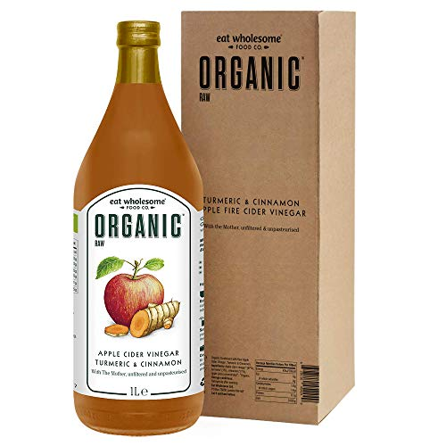 Eat Wholesome Food Co. Organic Raw Apple Fire Cider Vinegar with The Mother, Turmeric and Cinnamon, 1000 Millilitre