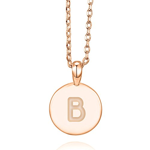 PAVOI 14K Rose Gold Plated Letter Necklace for Women | Gold Initial Necklace for Girls | Letter B