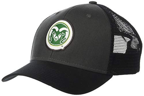 NCAA Colorado State Rams Men's Soft Mesh Sideline Cap, Dark Grey/Black/Black, Adjustable