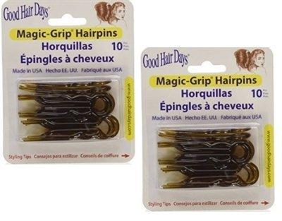 Magic-Grip Shell Hair Pins 2 Packs of 10 by Good Hair Days (20 Pins)
