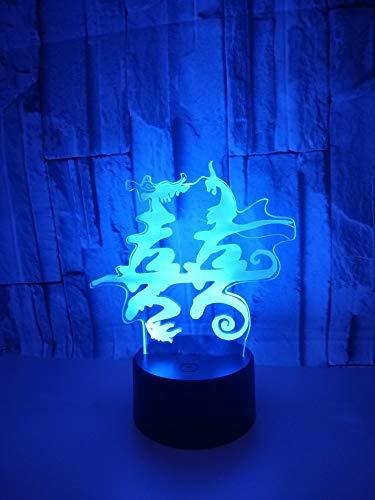 geführtes China-Doppelt-Glück-chinesisches Zeichen 3D grafisches visuelles Nachtlicht, buntes Steigungs-Umgebungslicht mit Fernbedienung