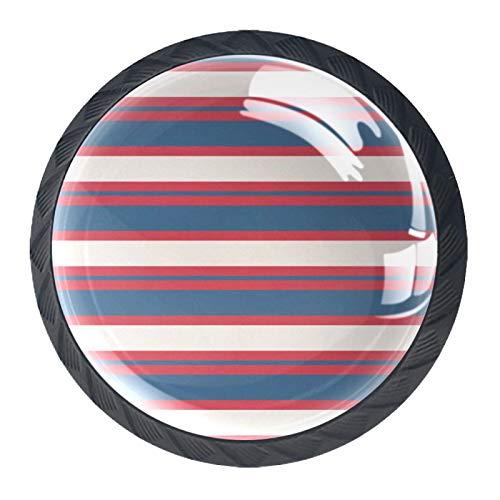 Tiradores de cajón con tirador de cristal redondo para el hogar, cocina, tocador, armario, rayas horizontales de color, rojo, azul, crema