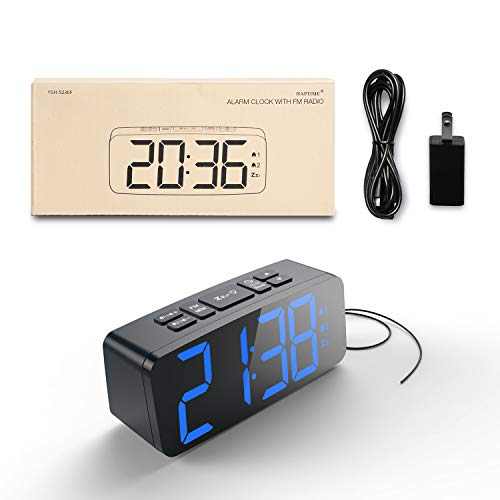 "HAPTIME Digital Alarm Clock Radio: 6.2"" Large LED Display with 4 Brightness Dimmer, Dual Alarms, Snooze, 12/24H, FM Radio with Sleep Timer, Blue Digits Clock for Home Bedside Bedroom"