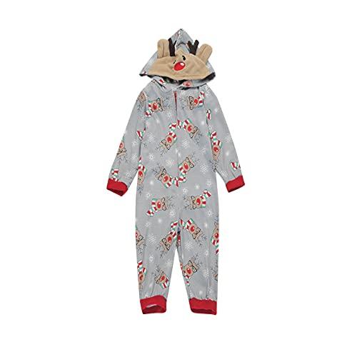 KMKM Conjunto de pijama de Navidad para familias, con capucha y cremallera, Gray_h, M