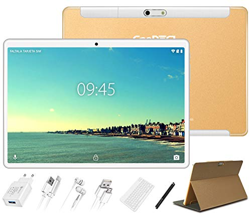 Tablet 10 Pollici 4GB RAM 64GB ROM Android 10 Pro GOODTEL Tablets Doppia SIM | Doppia Fotocamera 5MP+8MP | WiFi | HD IPS | Bluetooth | GPS | MicroSD 4-128 GB | con Tastiera Bluetooth - Oro Rosa