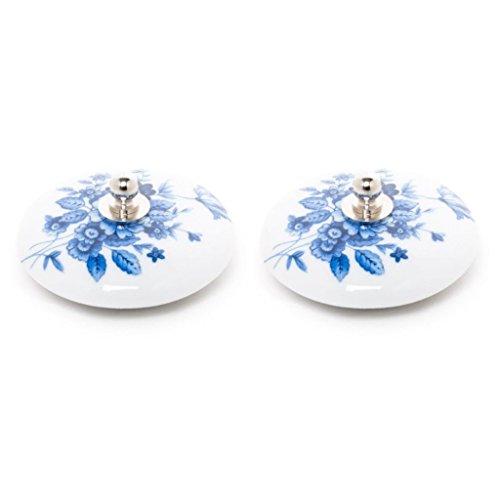 Tapón Lavabo, bañera y Bidet Universal Decorado d 2 uds de Porcelana Decorado Flor Azul