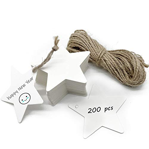 White Paper Gift Tags 200 Pcs Star-Shaped Blank Label Paper Wedding Labels Birthday Luggage Tags White Hang Tag with 20 Meters Jute Twine