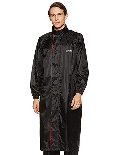 Amazon Brand - Solimo Water Resistant Polyester Long Rain Coat, Black, Small