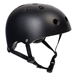 PedalPro BMX/skate Helmet - Ideal for bmxing, cycling, scootering, skating & skateboarding 3 sizes: small: 53cm-55cm - Medium: 55cm-57cm - Large: 57cm-59cm (head circumference) Plain matt black design - Lightweight ABS shell with impact-absorbent lin...