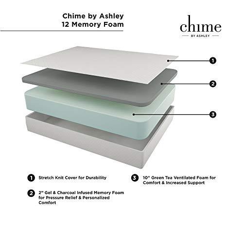 "Signature Design by Ashley Chime 12"" Medium Firm Memory Foam Mattress - CertiPUR-US Certified, Queen"